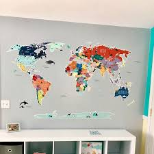 World Map Wall Decal Our Incredible World World Map Wall In 2020 World Map Wall Decal Map Wall Decal Wall Stickers Room