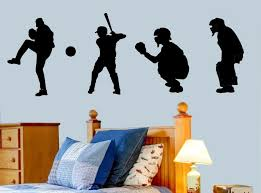 New Arrival Baseball Players Silhouette Boys Room Vinyl Decal Vinyl Wall Sticker Art Home Decor Sports Sports Outdoors Fan Shop