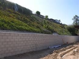 steep hillside retaining walls