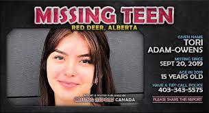 MISSING TEEN • Tori Adam-Owens • Red Deer, Alberta • 15 Years Old • Alberta  Missing Report