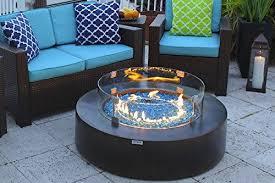 round modern concrete fire pit table w