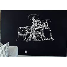 Amazon Com Drum Set Decal Drum Set Sticker Drums Decor Drums Rock Music Rock N Roll Let S Rock Heavy Metal Band Wall Art Stickers Tr265 Home Kitchen