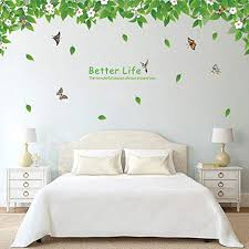 Amazon Com Ryws Green Leaf Waterproof Wall Sticker Living Room Sofa Background Wall Sticker Bedroom Bedside Wallpaper A 90x60cm 35x24inch Home Kitchen