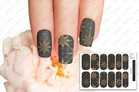Full Cover Black And Gold Decal Water Decals Nail Art Etsy