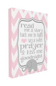 Amazon Com The Kids Room By Stupell Read Me A Story Elephant In Pink Chevron Canvas Art 16 X 20 Baby