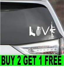 Love With Guns Car Decal Sticker Grenade Hand Gun Window Vinyl Sticker Truck Ebay