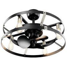 led indoor satin black ceiling fan