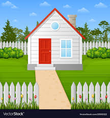 Cartoon Wooden House Inside The Fence Royalty Free Vector