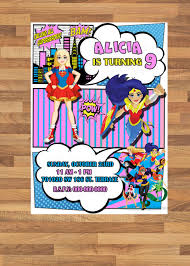 Dc Super Hero Girls Birthday Party Invitation Digital Printable