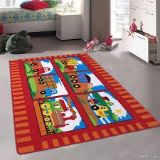 Allstar Kids Baby Room Area Rug Trucks And Trains Red Colorful Vibrant Colors 4 11 X 6 11 Walmart Com Walmart Com
