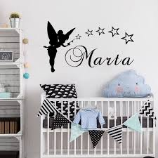 Personalized Name Fairy Angel With Star Vinyl Kids Girl Room Wall Sticker Kids Nursery Room Wall Decorative Decal Art Vinyl W 97 Name Wall Stickers Wall Stickerwall Sticker Name Aliexpress