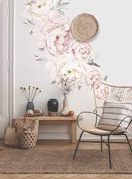 Amazon Com Simple Shapes Peony Flower Wall Sticker Grey Washed Pink Arts Crafts Sewing