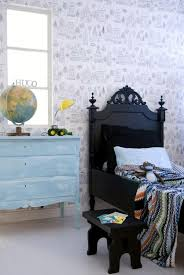 Bed In Black Wood With Ornate Decorations The Black Wooden Bed With Matching Stool Looks Through Her Ornaments On The Head A Black Wooden Bed Bed Wooden Bed