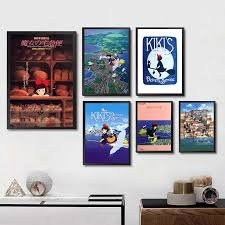 Collection Kiki S Delivery Service Miyazaki Japan Anime Oil Painting Poster Prints Art Wall Pictures Living Room Home Deco Wall Stickers Aliexpress