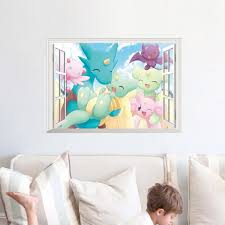Pokemon Pikachu Wall Stickers For Baby Kids Rooms Wall Art Decals Decor Pikachu 3d Through Wall