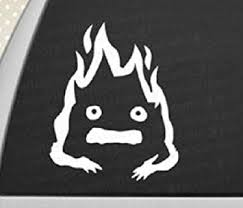 Amazon Com Howl S Moving Castle Calcifer Sticker Decal Studio Ghibli White Car Window Wall Macbook Notebook Laptop Vinyl Decal Computers Accessories