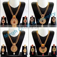 south indian long pendant necklace set