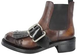 prada brown leather buckle strap kiltie