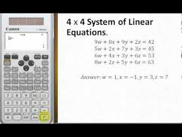 solve 4 by 4 system of linear equations