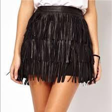 nasty gal black faux leather fringe