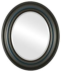 framed oval mirror in royal blue
