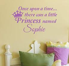 Amazon Com Valuevinylart Once Upon A Time There Was A Princess Named With Crown Personalized Wall Decal Lavender 37 W X 22 H Home Kitchen