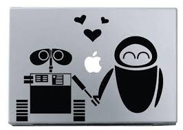 Wall E And Eve In Love Macbook Decal Macbook Stickers By Gastuff 6 90 Wall E Eve Disney Wall Laptop Decal Stickers