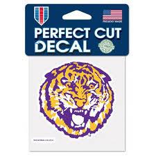 Lsu Tigers Retro Round Vault Tiger 4 X 4 Perfect Cut Decal Bengals Bandits