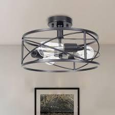 3 bulb iron semi flush mount light
