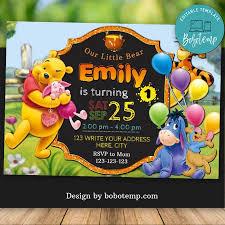 Editable Winnie The Pooh Para El Primer Cumpleanos Invitacion Diy