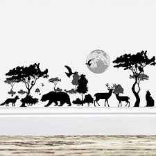 Amazon Com Amaonm Removable Black Tree Animals Wall Sticker Home Wall Art Decor Kids Room Wall Decals Baby Girls Murals Bedroom Room Decoration Stickers Creative Animal Forest Wall Corner Decor Nursery Decal Home