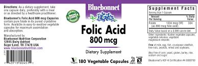 folic acid 800 mcg 180 vegetable