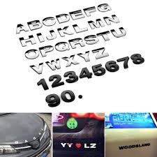 Chrome Car Emblem Letters Numbers Logo Sticker Decal Auto Truck Alphabet Decor Ushirika Coop