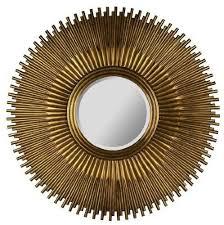 copper sunburst beveled wall mirror