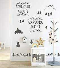 Amazon Com Adventure Awaits Explore More Wall Decal By Wallency Removable Vinyl Sticker Dark Gray Arts Crafts Sewing