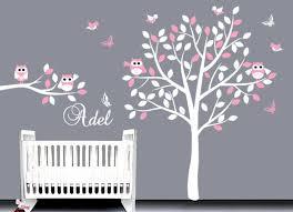 Baby Vinyl Nursery Wall Decal Sticker Tree Decal Birds And Owls Vinyl Wall Art Custom Nam Baby Nursery Wall Decals Baby Wall Decals Nursery Wall Decals Tree