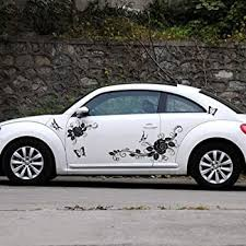 Amazon Com Giftcity Car Decal 1 Set Butterfly And Flower Decal Stickers For Car Body Universal Vinyl Car Stickers Black Automotive