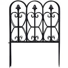Garden Fence 32in X 10ft Folding Decorative Border Fence Set Of 5 Coated Metal Panels Lightweight Ourdoor Patio Edge Fence