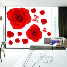 Romantic Red Rose Wall Stickers Wedding Room Window Glass Decoration Vinyl Decals Removable Self Adhesive Wallpaper Posters Wall Stickers Aliexpress