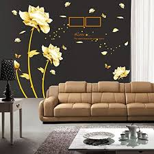 Ufengke Beautiful Peony Flowers Butterflies Photo Frame Wall Decals Living Room Bedroom Removable Wall Stickers