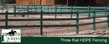 Three Rail Hdpe Horse Fence 3 Rail Equine Ranch Fencing For Horse Farms