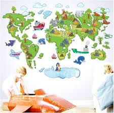 Wall Sticker Decal World Map Kids Children Bedroom Daycare Etsy