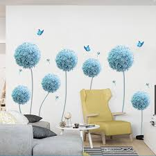Blue Dandelion Butterfly Dragfly Wall Stickers Extra Large Wall Decals Art Living Room Bedroom Background Wall Applique Poster Wall Mural Decals Cheap Wall Mural Sticker From Magicforwall 9 08 Dhgate Com