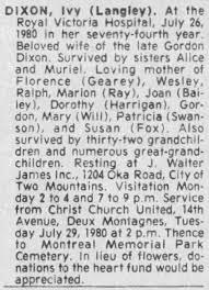 Obituary for Ivy DIXON - Newspapers.com