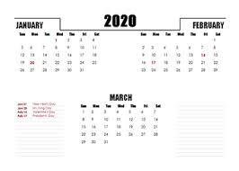 2020 quarterly calendar templates