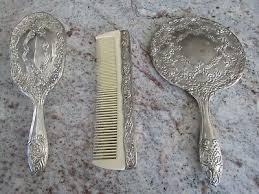 silver plate vanity set hand mirror