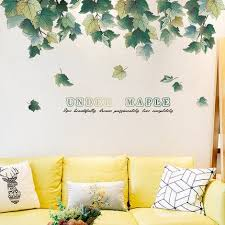 Home Garden Decal Maple Leaf Decals Tropical Home Wallpaper Removable Vinyl Wall Stickers Creative Green Leaves Wall Decor Amagicalshop On Artfire