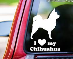 I Love My Chihuahua Vinyl Decal Sticker 7 X 5 Long Haired Minglewood Trading