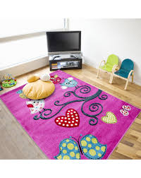 Children S Carpet Kids Room Carpet With Motifs Of Tree And Butterfly Kids 0420 Purple Size 80x150 Cm