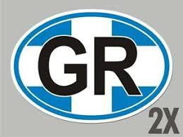 2 Greece Greek Gr Oval Window Code Stickers Flag Decal Bumper Car Vinyl Cl023 Ebay